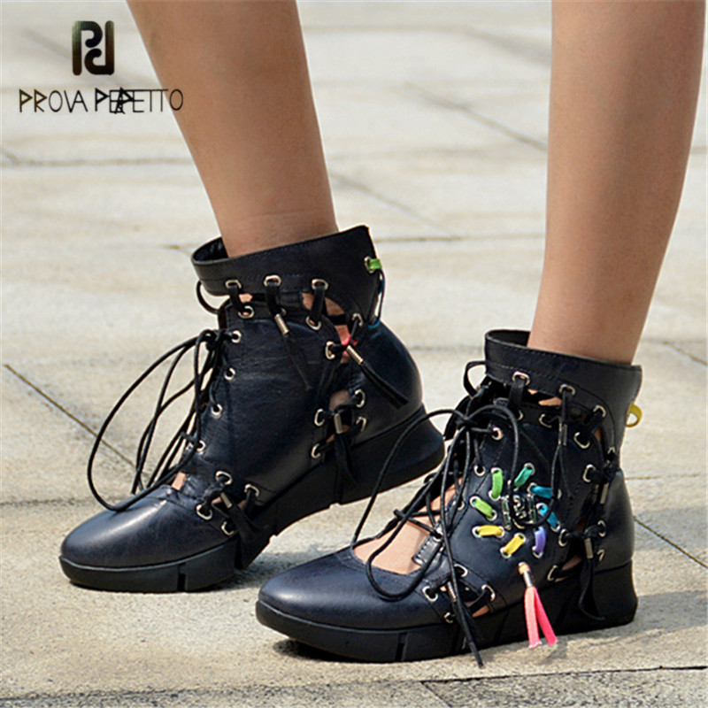 Prova Perfetto Breathable Hollow Out Women Casual Platform Shoes Lace Up Tenis Feminino Espadrilles Sneakers Summer Boots summer women shoes casual cutouts lace canvas shoes hollow floral breathable platform flat shoe sapato feminino lace sandals page 7