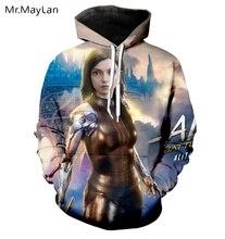Movie Alita:Battle Angel 3D Print Jackets Women/men Unisex Couples Gothic Pullovers Hood Sweatshirts Girls Cool Tracksuits 5XL