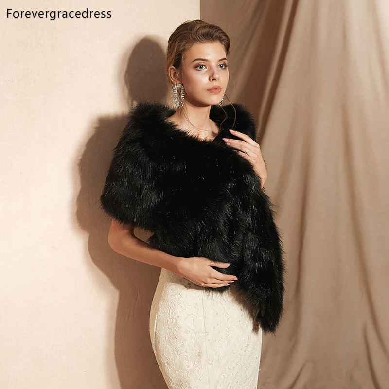 Forevergracedress 2019 Elegant Soft Autumn Winter Faux Fur Bride Wedding Wrap Bolero Jackets Bridal Coats Shawls Scarves PJ338