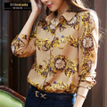 Hot Sale Vintage Floral Print Pattern Chiffon Blouse Women Long Sleeve Shirt Tops 2 Colors Blusas Femininas