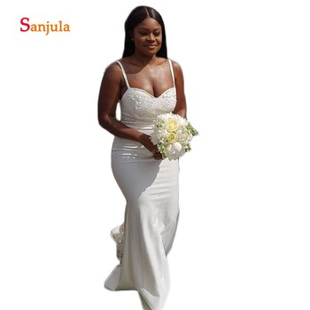 Ivory Satin Sheath Bridesmaid Dresses 2019 Spaghetti Straps Lace Appliques Beaded African Maid of Honor Gowns vestido longo D135 фото