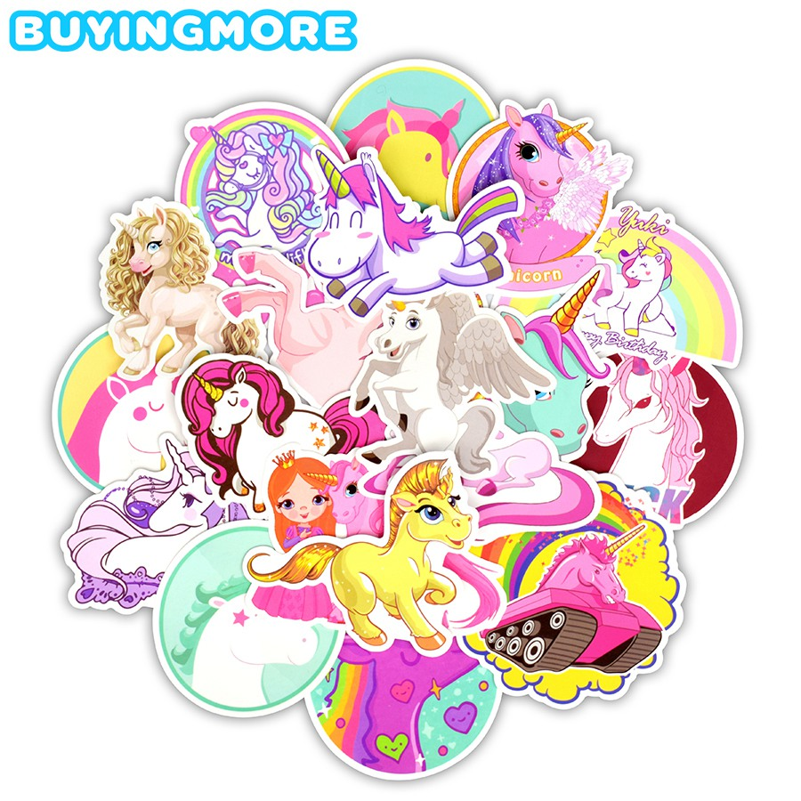 30 PCS Unicorn Sticker Toys For Children Funny Cute Anime Cartoon Decal For Skateboard Travel Suitcase Car Laptop Stickers Gift