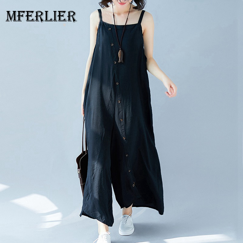 Mferlier Summer Women Jumpsuit With Oblique Button Spaghetti Strap Loose Cotton Linen Ankle Length Overalls