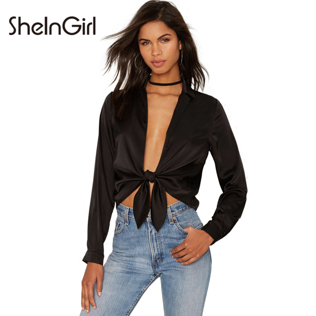 SheInGirl Sexy Lace Up Women Blouse Black Satin Tie Long Sleeve Top Shirt  Brief Chic Vintage Female Short Blouse 53d3a967d