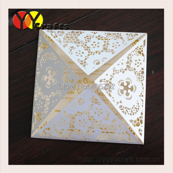 Special design four folded paper laser cutting invitation cards special design four folded paper laser cutting invitation cards 50setslot customized birthday greeting cards m4hsunfo