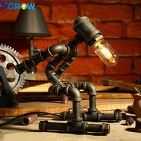 SGROW Robot Design Table Lamp Creative Loft Iron Pipe Lamp Desk Light for Bedroom Beside Light Lampara de mesa with Edison Bulb