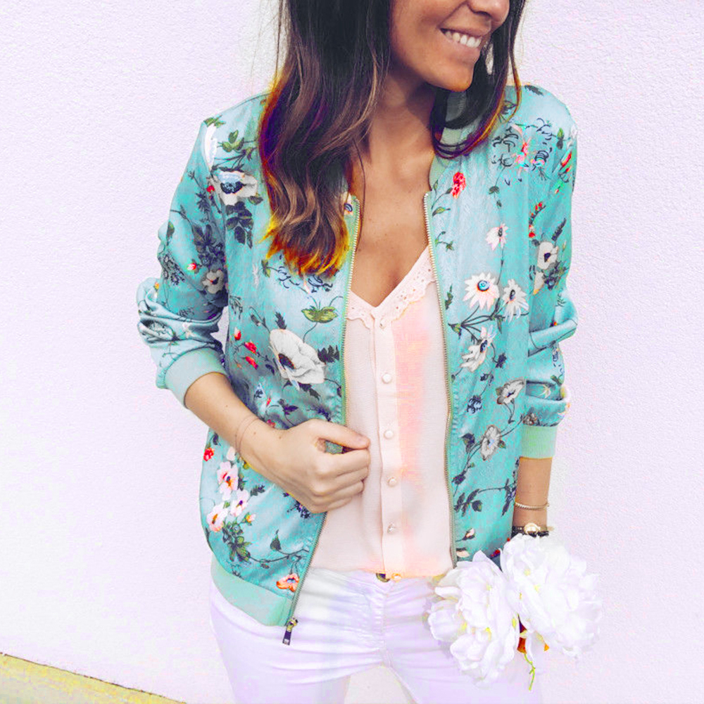 Coat Zipper Outwear Bomber-Jackets Short Spring Floral-Print Plus-Size Women's Long-Sleeve title=