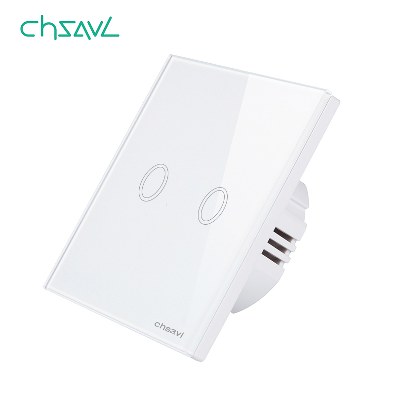 CHSAVL Wall Touch Switch 2 Gang 1 Way EU Standard Switch  AC 110-220V Light Screen Touch Switch ,Tempered Glass Crystal PanelCHSAVL Wall Touch Switch 2 Gang 1 Way EU Standard Switch  AC 110-220V Light Screen Touch Switch ,Tempered Glass Crystal Panel
