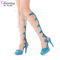 2016 Women Sandals Lace Up Summer Boots Platfrom Women Pumps Sexy Over Knee High Boots Gladiator