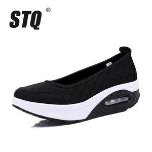 Image 2 - STQ 2020 Autumn Women Flat Platform Shoes Women Breathable Mesh Casual Sneakers Shoes Ladies Thick Sole Heel Slip On Shoes 9001