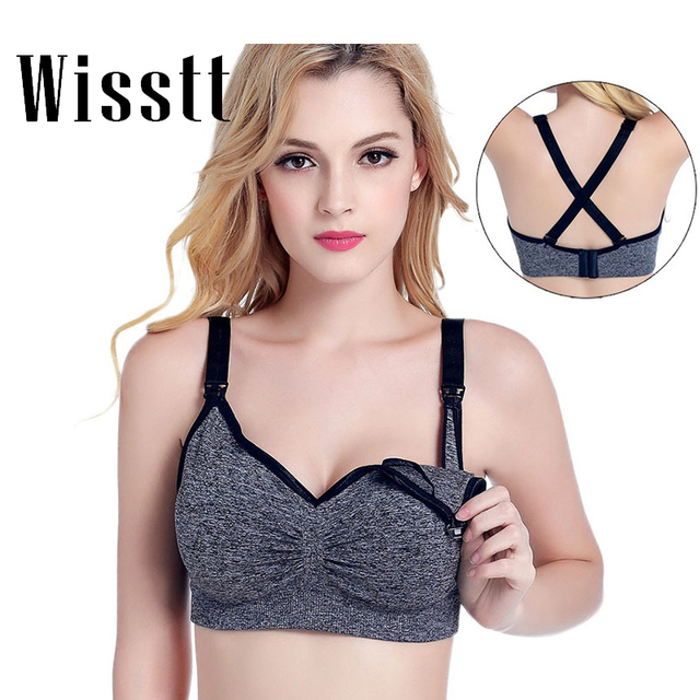 Wisstt Plus size Nursing Bra Breast Feeding Maternity Wire free Bra Breastfeeding Push Up Pregnant Underwear Tank Top cross