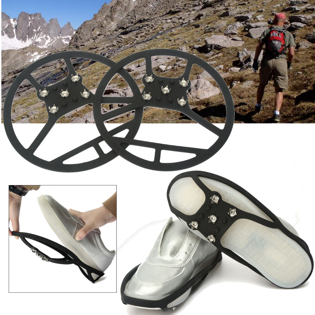 BSAID1Pair Silica Gel Round Ice Grippers, 5 Spikes Anti-Slip Elastic Snow Ice Mud Crampons Outside Overshoes Boots Shoe Gripper bsaid1pair silic ice grippers snow ice climbing anti slip spikes grips crampon cleat 5 stud shoes cover hiking trekking slipper
