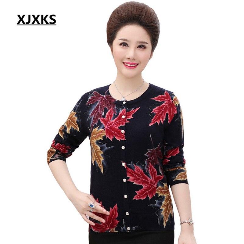 XJXKS Cashmere Cardigans Women Autumn 2019 New Plus Size Print Sweater Women High Quality Soft Maple