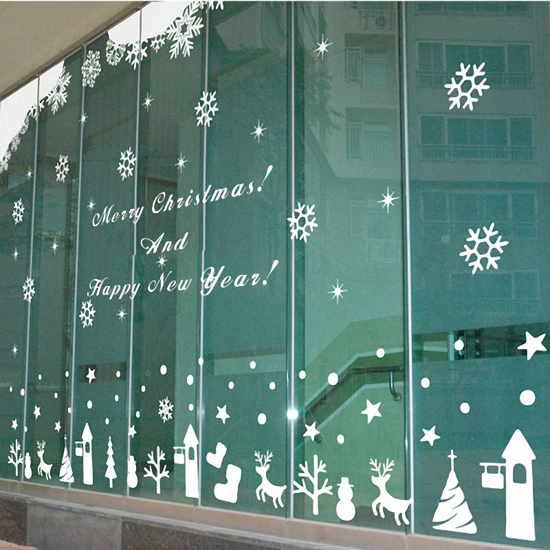 Free shipping Large 2015 Christmas glass window wall sticker decal home decor shop decoration X mas stickers xmas027