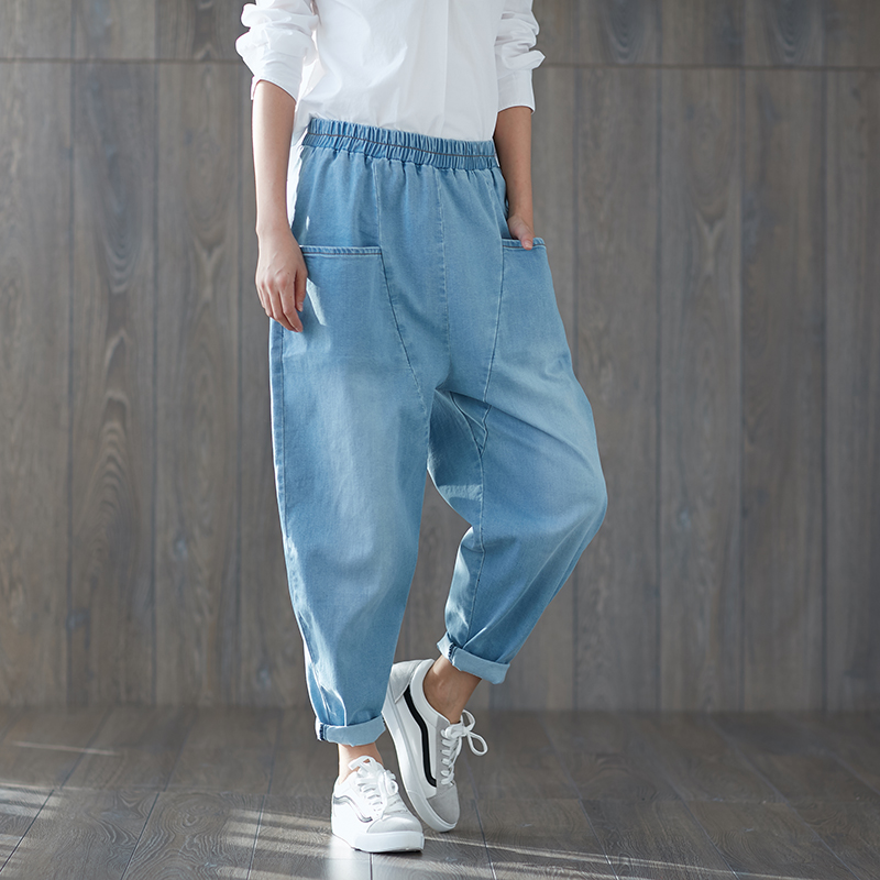 Spring New Women Blue   Jeans   2018 Plus Size Cotton Denim Big Cross-pants Loose Waist Boyfriend Harem Pants Femme Turnip Trousers