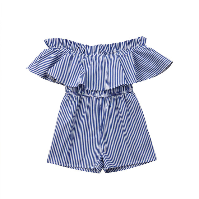 3843c52af3f 2018 Hot Newborn Baby GirlS Clothes Off Shoulder Ruffles Jumpsuit Romper  Summer Striped Children Girl Beach Casual Comfy Clothes