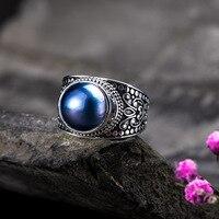 Аутентичные стерлингового серебра 925 жемчужное кольцо Винтаж цветок выгравированы для женщин Регулируемый ювелирные украшения Bague Argent