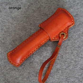 Retro Style Pencil Pouch Vintage Fountain Pen Bag Cowhide Genuine Leather Pencil case with handle bandage Stationary gift 1283B