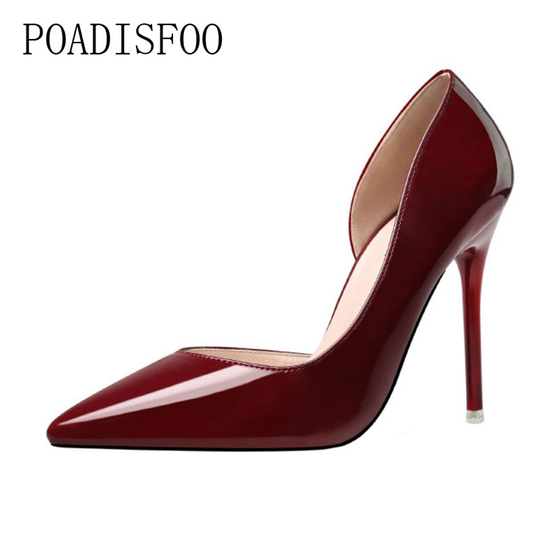 POADISFOO 2018 women pumps Fashion Minimalist Fine High Heel Shallow Mouth Pointy Thin Sexy OL Professional Shoes .ZWM-1132-3 burgundy gray saphire blue pink women dress party career work shoes flock shallow mouth stiletto thin high heel pumps