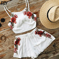 2 Piece set women skirt top 2017 summer sexy clothes for lady sleeveless crop top and print flower cool skirt set slim R325