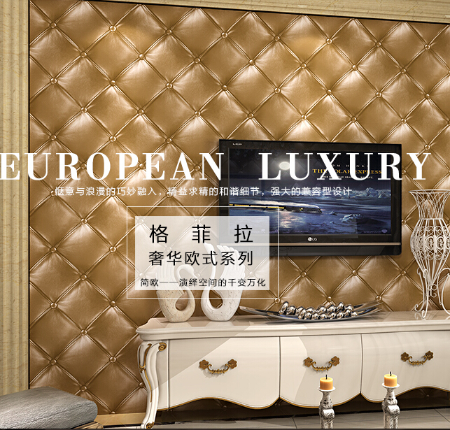 10mx53cm European simulation of 3d leather soft package TV setting wall sitting room wallpaper bedroom three-dimensional grid new fine fabric texture wall of setting of the bedroom a study wallpaper of europe type style yulan wallpaper fashion pavilion