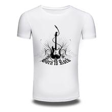 DY 86 Music Style Born To Rock Printer Tuitar Printing Mens T shirts Trendy Leisure Tee