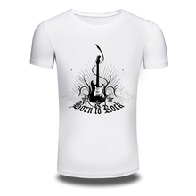 DY-86 Music Style Born To Rock Printer Tuitar Printing Mens T-shirts Trendy Leisure Tee shirts White Tshirts Oversized M-3XL