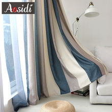 Blue striped bluckout curtains for living room Brown Mediterranean tulle+curtain for bedroom window luxury organza sheer blins
