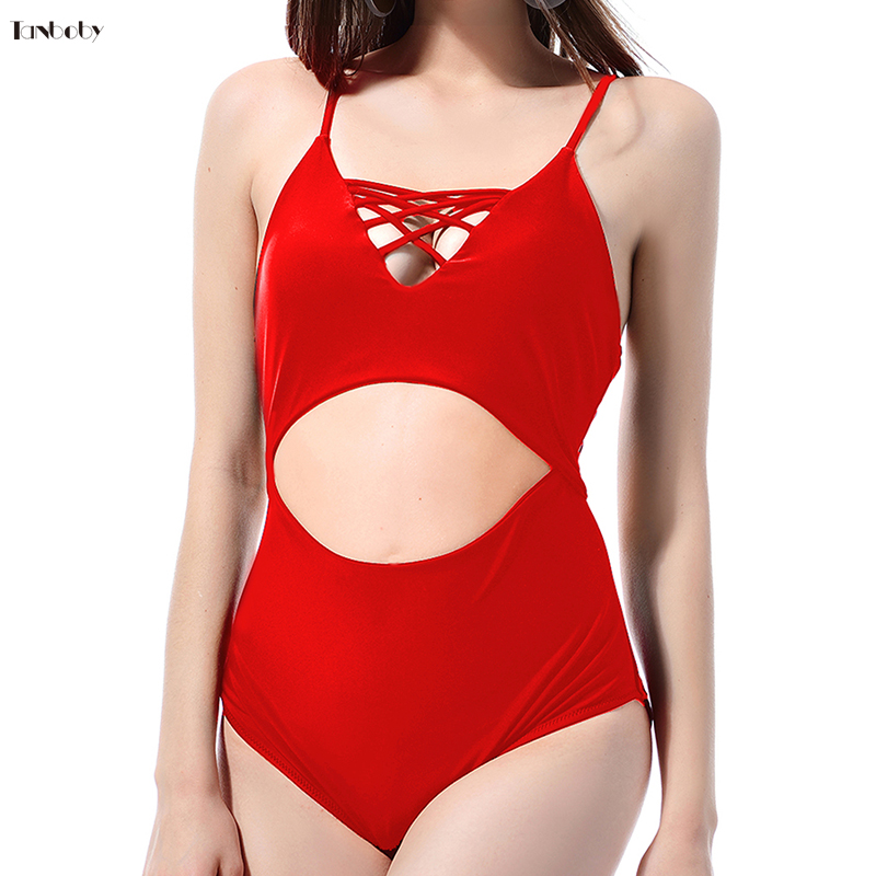 Large Size One-pieces Swimming Suits Hollow Out Swim Wear Monokini Solid Black/Red High Cut Waist Swimsuits 1 Piece Trikinis image