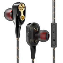 3.5mm With Microphone Gaming Dual Driver Hands Free In-Ear Bass Earphones Stereo Headphone
