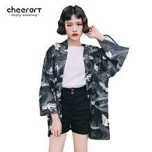 Cheerart Винтаж черный кимоно кардиган Для женщин летние хаори кран печати Шифоновая блузка 2017 японский кардиган Верхняя часть одежды