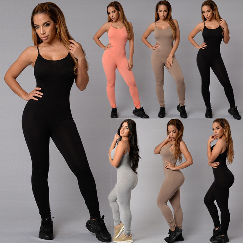 Sexy Women Casual Pure Color Spaghetti straps Sleeveless Bodycon Romper   Jumpsuit   Club Bodysuit Long Pants