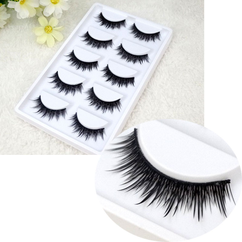 33b3222dd5f60 5 Pairs False Eyelashes Beauty Makeup Stage Smoke Fake Eyelashes Natural  Long Crisscross Thick Soft Lashes