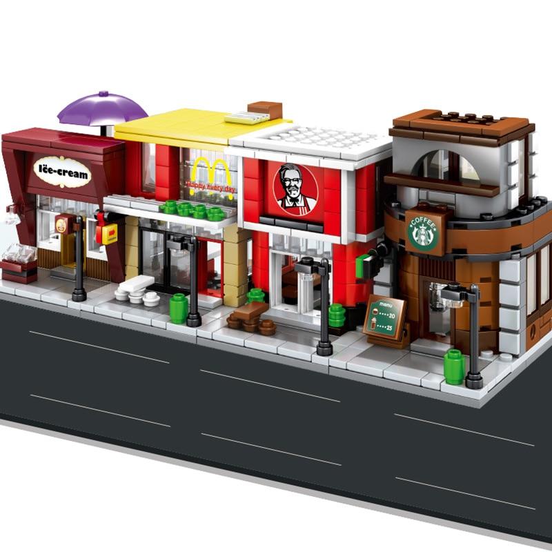 Sembo 601021 Mcdonald Hamburger Fast food restaurant Streetscape Building Blocks Bricks Model toys-in Stacking Blocks from Toys & Hobbies