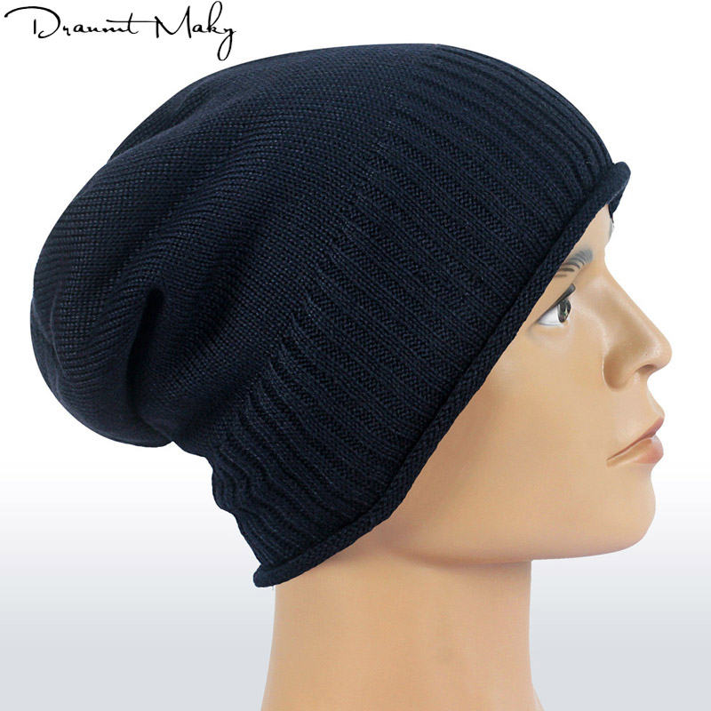 2019 Men's winter hat fashion knitted black hats Fall Hat Thick warm Bonnet   Skullies     Beanie   Soft Knitted   Beanies   Cotton gorros