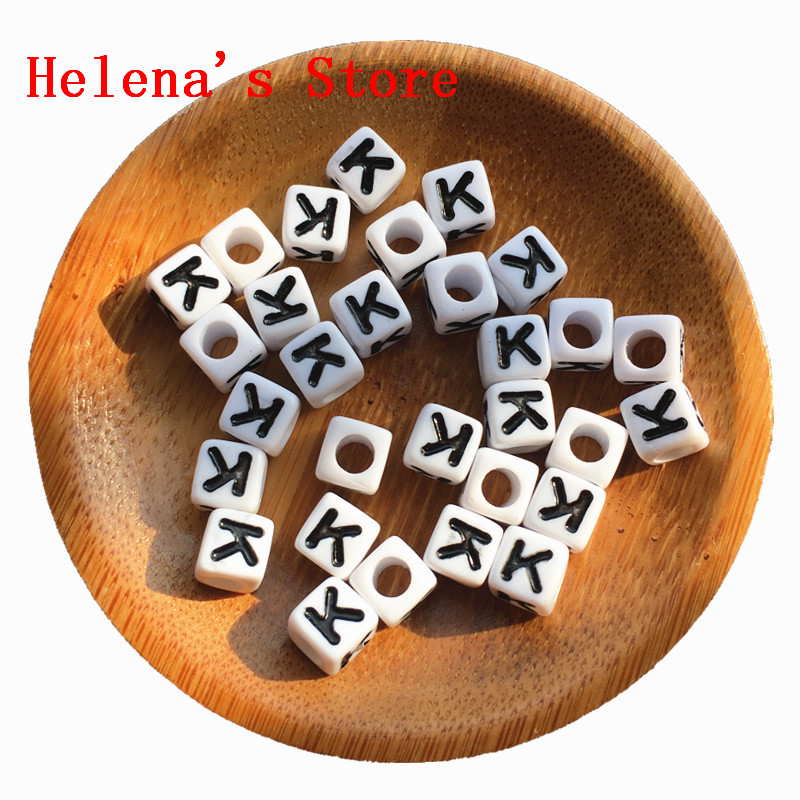 Single Letter K Printing Square Alphabet Beads 7*7MM 1800PCS Per Bag Jewelry Name Knit Bracelet Making Spacer Initial Beads