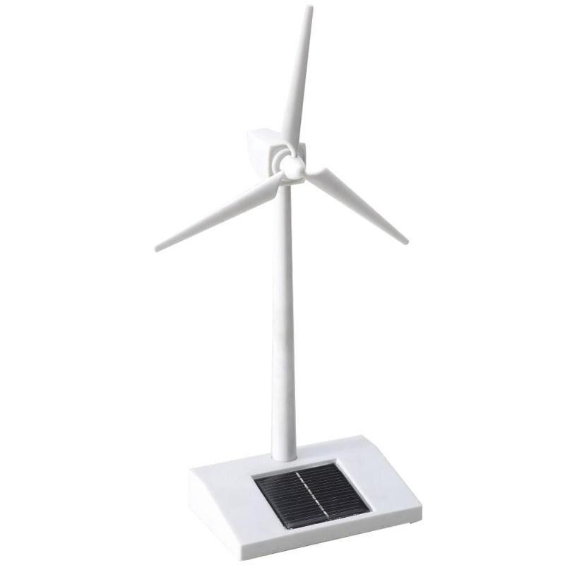 Molino de viento 3D con energía Solar montado modelo educativo divertido niños juguete regalo ABS plástico turbina de viento blanco para niños Juguetes