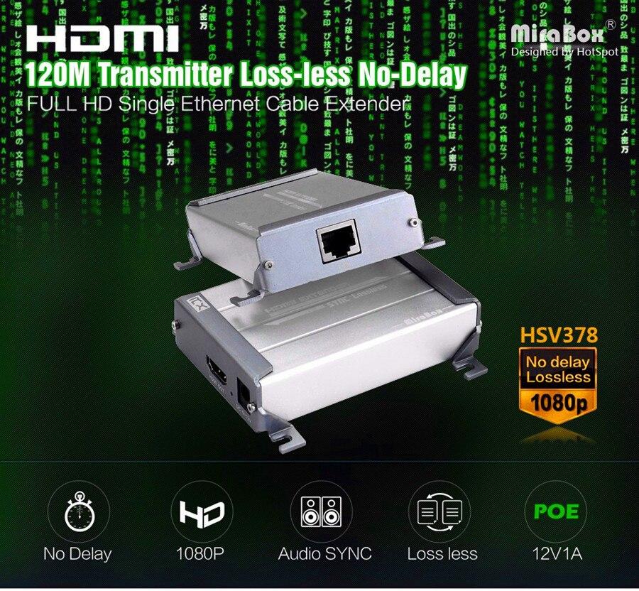 Mirabox 120 м без задержки без потери HDMI poc Extender над UTP/STP cat5e cat6 кабель 1080 P HDMI трансмиссия (передатчик + приемник)