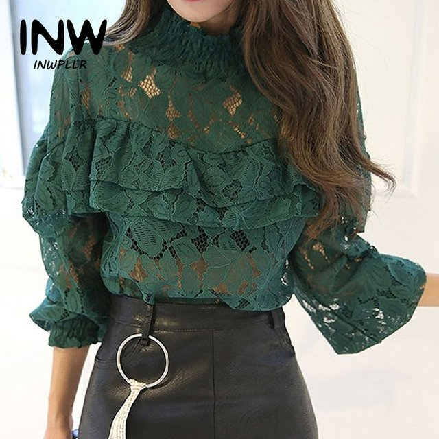 1004b13802cd8 US $11.8 |2018 Spring Women Blouses And Shirts Hollow Lace Blouse Mujer  Fashion Long Sleeve Ladies Shirts Female Ruffles Blusas Femme Tops-in  Blouses ...