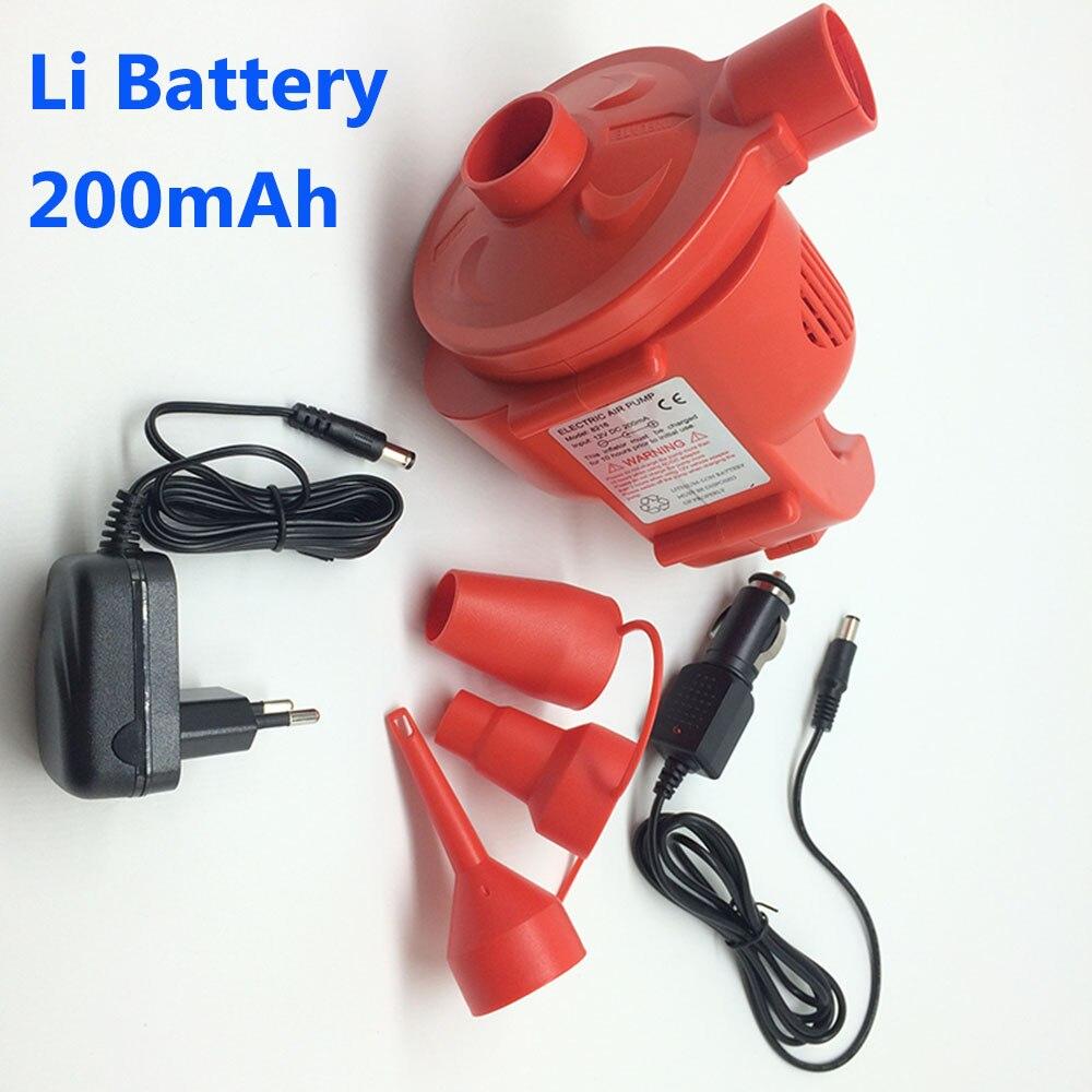 200 mAh Rechargeable électrique pompe à Air AC 12 V Portable Li batterie pompe Air lit bateau gonfleur voiture allume-cigare DC EU adaptateur