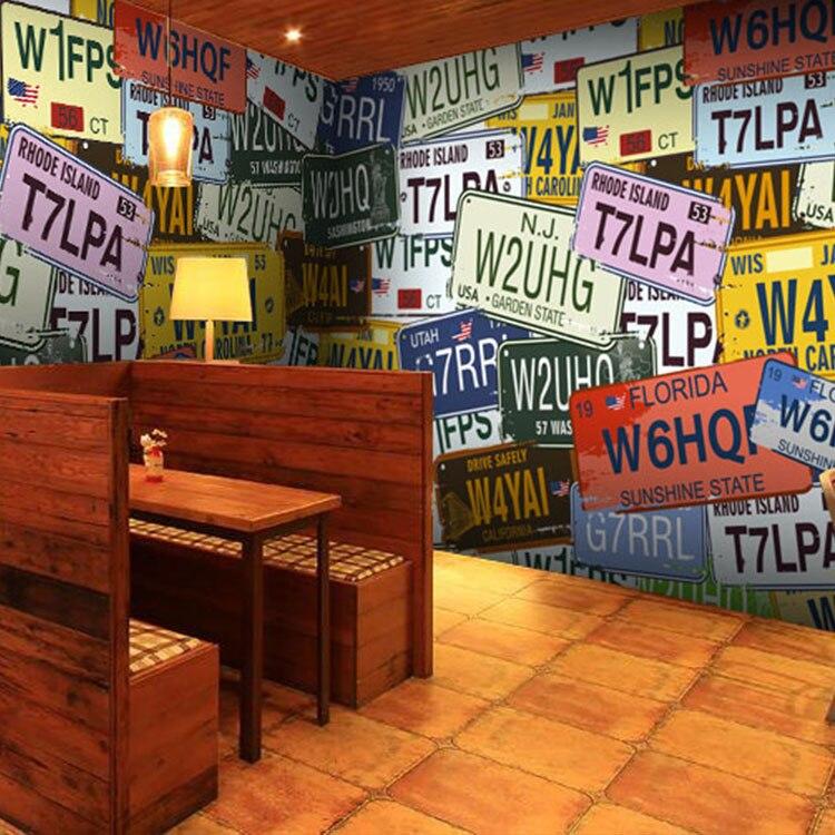 Custom photo wallpaper Retro personalized car <font><b>license</b></font> <font><b>plate</b></font> Vintage graffiti wallpaper for living room restaurant