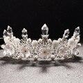 Boda de lujo Crystal Shell Flor de La Perla de La Princesa Tiara Crowns Queen Pageant Prom Rhinestone Diadema Nupcial Del Pelo Ornamento Regalo