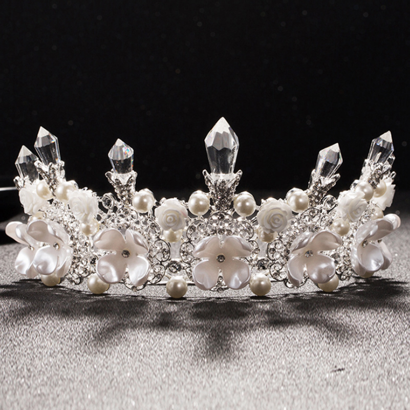 Luxury Wedding Crystal Tiara Crowns Shell Flower Pearl Princess Queen Pageant Prom Rhinestone Headband Bridal Hair