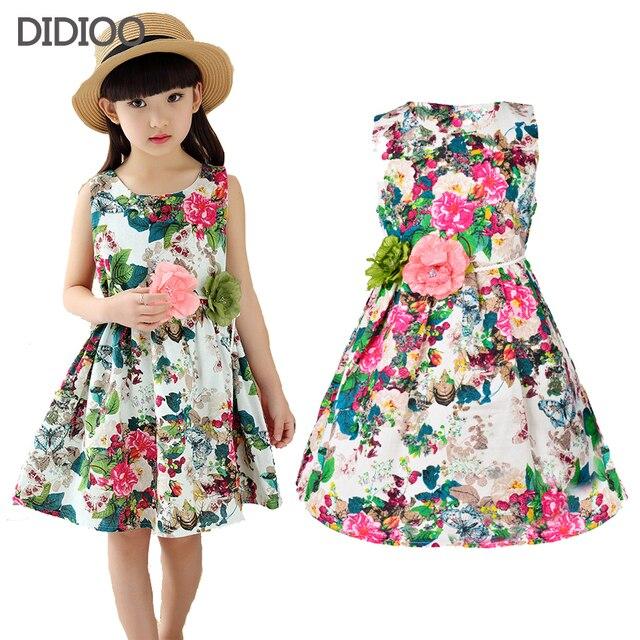 f7111278f2fd5 Enfants vêtements d'été robes pour filles d'été style fille robe floral  imprimé