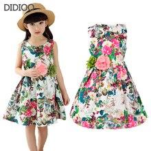 Одежда для детей Летние платья для девочек Хлопчатобумажные платья для девочек в летнем стиле с цветочным принтом Праздничный сарафан для празднования дня рождения Детская одежда