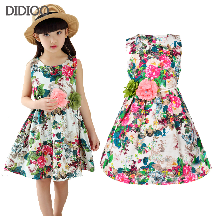 Kids clothing summer dresses for girls summer style girl dress floral print cotton birthday party sundress baby children clothes summer dresses for girls party dress 100% cotton summer cool and refreshing the harness green flowered dress 1 5years old