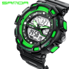 Новинка, брендовые модные часы Sanda Shock, мужские Роскошные Аналоговые кварцевые цифровые часы, водонепроницаемые спортивные военные часы, мужские часы