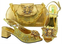 Matching Italian Shoe and Bag Set African Matching Shoes and Bags Italian In Women Nigerian Gold Shoes and Matching Bags MM1071