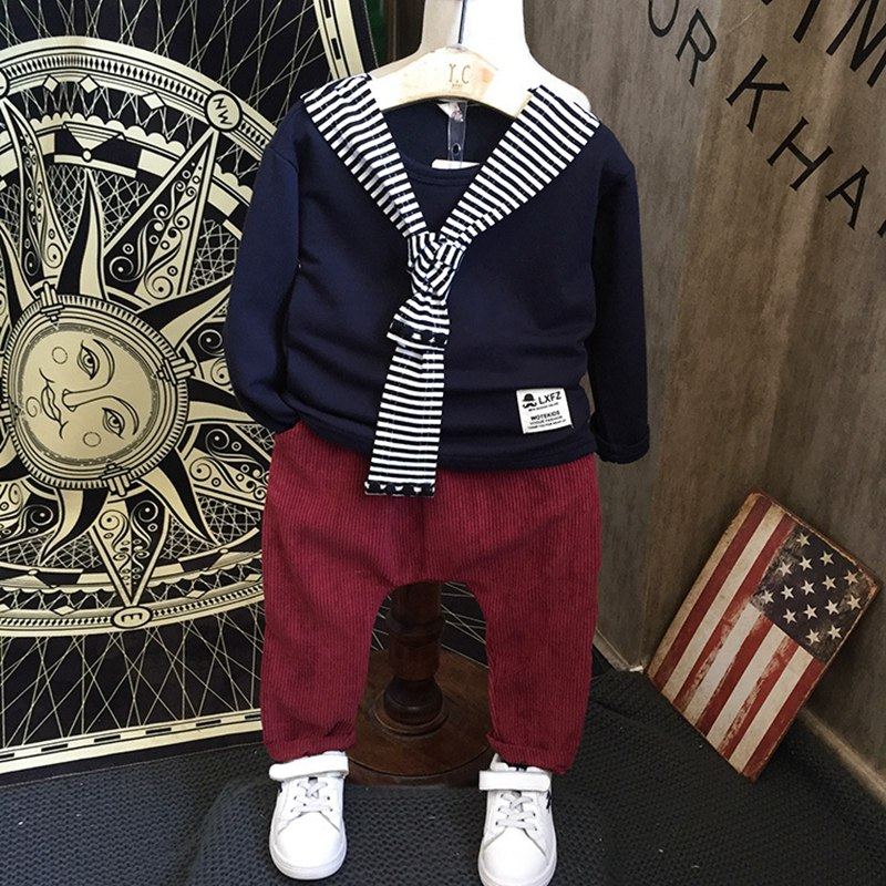 Autumn spring Children Baby kid's Boys Navy style sweatshirt Pullovers Tops+casual Pants 2 pcs Clothes Set Suit Y2633 цены онлайн