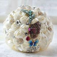 2017 Свадебный букет невесты de mariage жемчуг с бабочкой невесты Искусственные Свадебные букеты Цветы бисер Кристалл